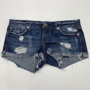 YMI Jeans Size 7 Shorts Distressed Boho Festival
